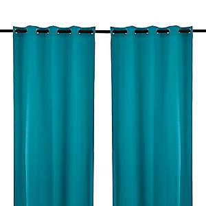Solid Teal Outdoor Curtain Panel, 96 in.