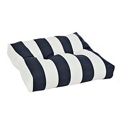 Blue and White Stripe Outdoor Ottoman Cushion