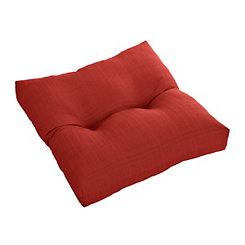 Buttoned Red Outdoor Ottoman Cushion
