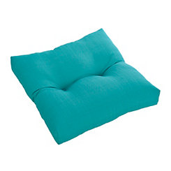 Buttoned Teal Outdoor Ottoman Cushion