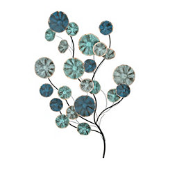 Metal Shades of Blue Blooming Bouquet Plaque