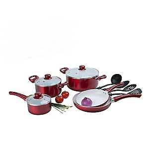 Red 12 pc. Ceramic Non-Stick Cookware Set