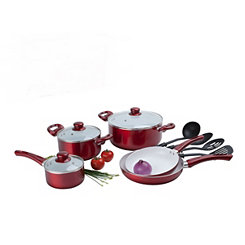 Red 12 pc. Ceramic Non-Stick Cookware Set