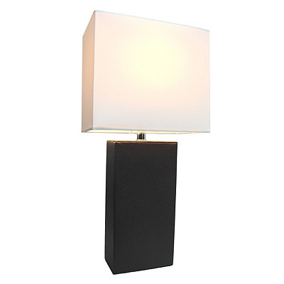 Modern Black Leather Table Lamp