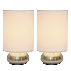Ivory Gemini Mini Touch Lamps, Set of 2