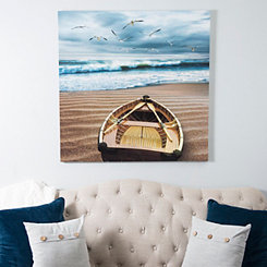 Boat by the Ocean Canvas Art Print