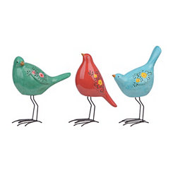 Floral Bird Figurines, Set of 3