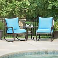 Set of 3 Blue Barclay Brown Wicker Rocker & Table