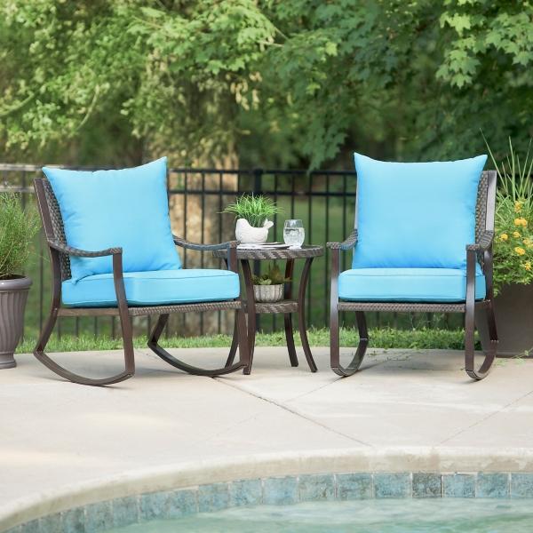 Blue Barclay Brown Wicker Rocker & Table Set