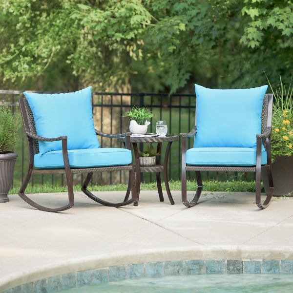 blue barclay brown wicker rocker u0026 table - Wicker Porch Swing