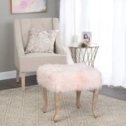 Blush Pink Faux Fur Square Ottoman
