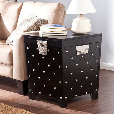 Black Nailhead Trunk Side Table