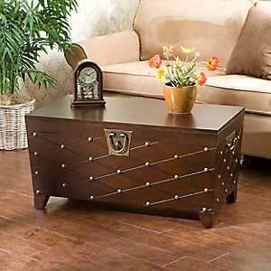 Espresso Nailhead Truck Coffee Table