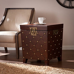 Espresso Nailhead Truck Side Table