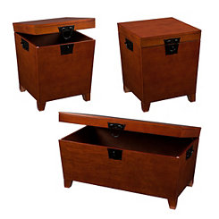 Espresso Tapered Trunk Tables, Set of 3