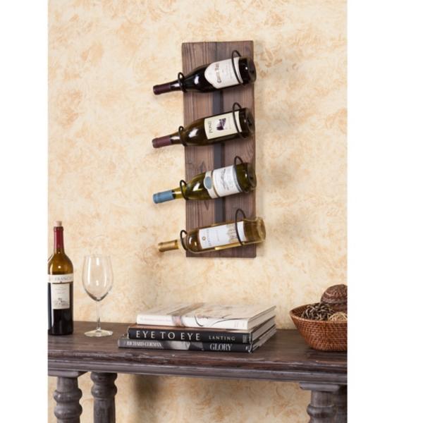 wall mounted wine rack slatted wood