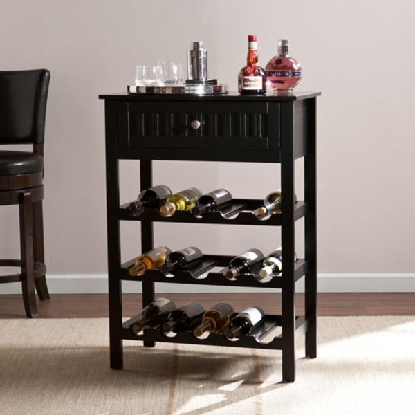 stewart black wine rack table - Wine Rack Table