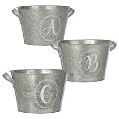 Galvanized Metal Laurel Monogram Buckets