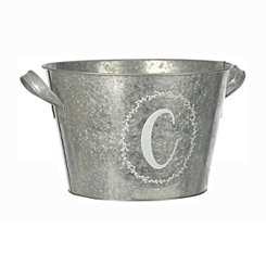 Galvanized Metal Laurel Monogram C Bucket
