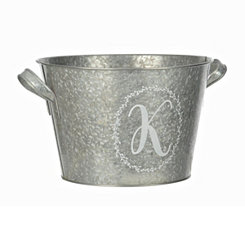 Galvanized Metal Laurel Monogram K Bucket