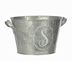 Galvanized Metal Laurel Monogram S Bucket