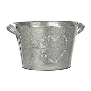 Galvanized Metal Heart Wreath Bucket