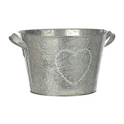 Galvanized Metal Heart Wreath Bucket