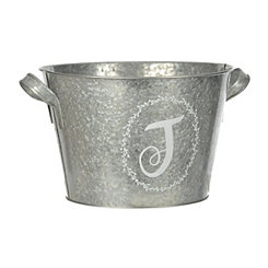 Galvanized Metal Laurel Monogram J Bucket