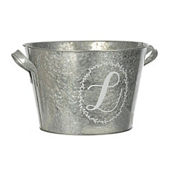 Galvanized Metal Laurel Monogram L Bucket