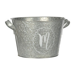 Galvanized Metal Laurel Monogram M Bucket