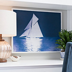 Indigo Sailing Ships II Framed Art Print
