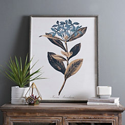 Blue and Gold Single Floral II Framed Art Print