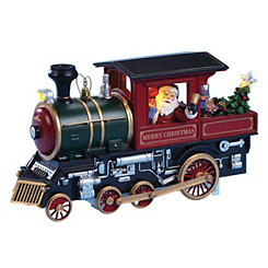 Pre-Lit Santa Musical Train Engine Figurine