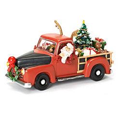 Pre-Lit Santa Musical Truck Figurine