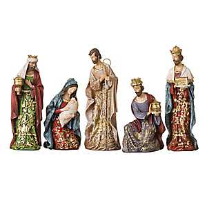Gold Leaf Nativity Scene, Set of 5