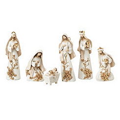 Ivory and Gold Nativity Scene, Set of 6