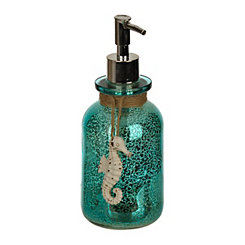 Blue Seahorse Mercury Glass Soap Pump