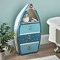 Blue Striped 3-Drawer Boat Chest