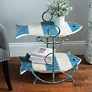 Blue Striped 2-Tier Fish Accent Table