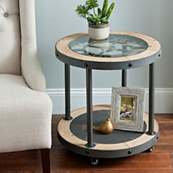 Industrial Clock Side Table