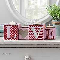 Love Block Tealight Candle Runner