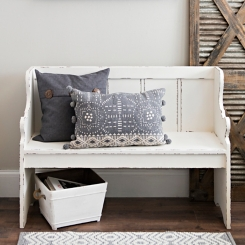Distressed Ivory Pew Bench