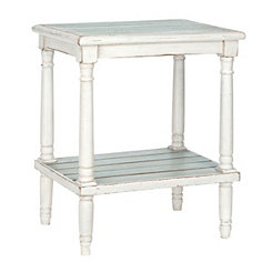 Blue and White Planked Side Table