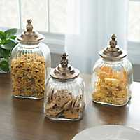 Bronze Pineapple Kitchen Canisters, Set of 3