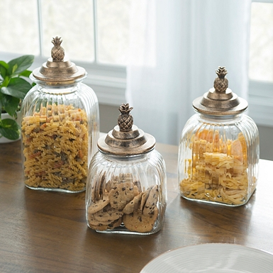 Bronze Pineapple Kitchen Canisters Set Of 3