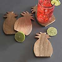 Wooden Pineapple Coasters, Set of 4