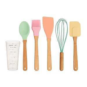 Pastel Bamboo 6-pc. Cooking Utensil Set