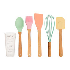 Pastel Bamboo 6-pc. Cooking Utensil Set