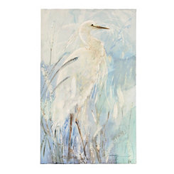 Heron on Shore Canvas Art Print