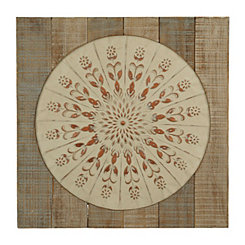 Wood Framed Floral Medallion